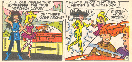 Panels from *Archie 3000* showing Veronica's outfit  unexpectedly changing to match her emotions