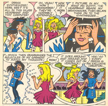 Panels from *Archie 3000* showing Veronica using a thought-based outfit transformer