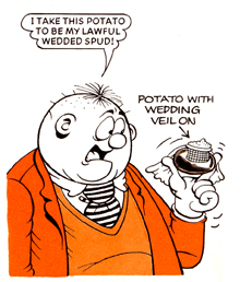 Panel from *The Beano* of Fatty marrying a potato