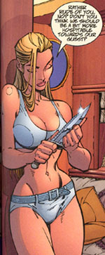 Scan of panel from issue 1 of _Danger Girl_ illustrated by J. Scott Campbell