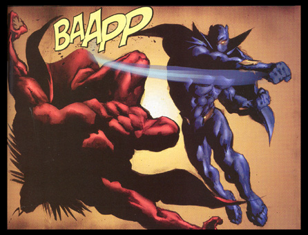 Panel of Black Panther totally knocking the bejeezus out of Mephisto