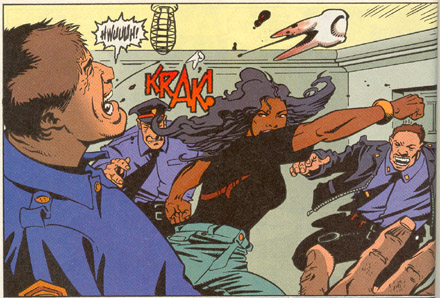 *Hitman* panel of Detective Tiegel completely wailing on a coworker