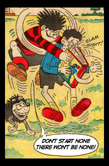 Comic panel of Dennis the Menace attacking Walter the Softy