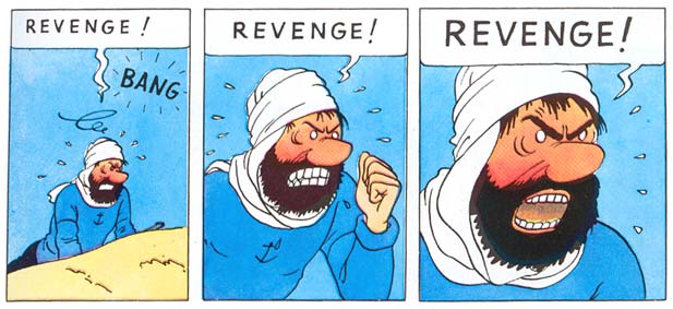 Tintin panels where Captain Haddock is crying out for revenge
