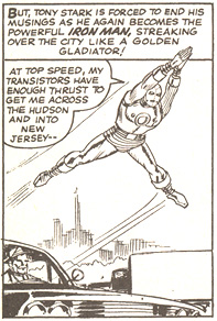 Sample panel of Iron Man flying to New Jersey