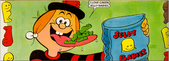 Panel of *The Beano* with Minnie the Minx loving on green jelly babies
