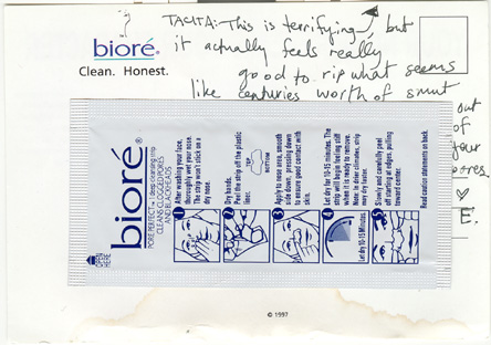 Back of Biore promotional postcard with handwritten advice