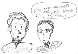 K's cartoon of Chief O'Brien and Dr. Bashir