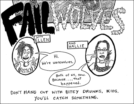 Panel from Betsey Swardlick's 'Failwolves' from the Team Werewolf anthology *Werewolf!!*