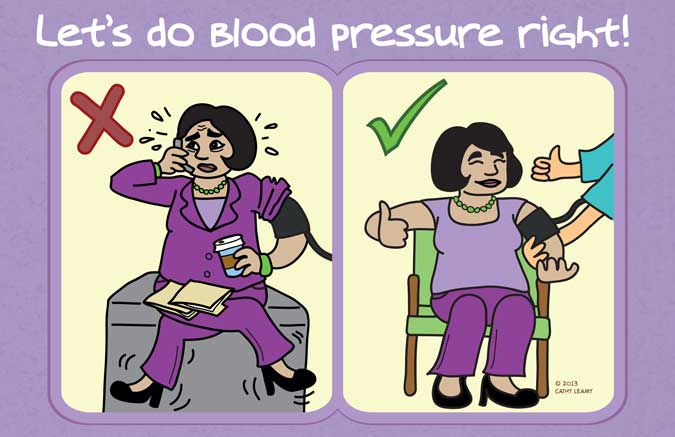 Metrokitty comics blood pressure exam room posters they contrast this with actions that improve accuracy sitting in a chair with uncrossed legs and feet on the floor removing clothing rather than rolling altavistaventures Images