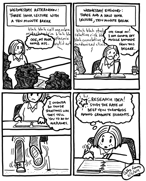Comic about the unexpected physical side effects of graduate school