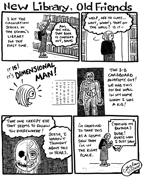 Comic about an amazing I HAD THAT! moment at the grad school library