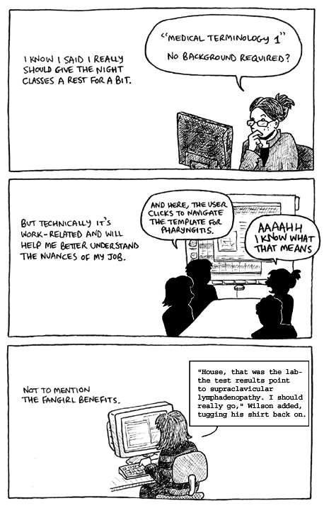 A comic about Kitty taking a night class in medical terminology