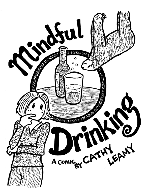 Cover of the comic *Mindful Drinking*, an info comic about applying mindfulness to drinking